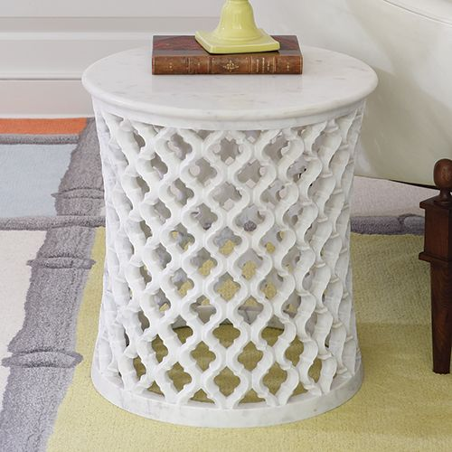 Marble Arabesque Side Table, sharing luxury designer home decor inspirations and ideas for beautiful living rooms, dinning rooms, bedrooms & bathrooms inc furniture, chandeliers, table lamps, mirrors, art, vases, trays, pillows, accessories & gift courtesy of InStyle Decor Beverly Hills enjoy & happy pinning