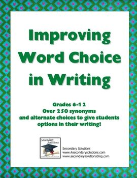 {FREE} Huge list of words to help students make better word choices in their writing!  Handout includes: