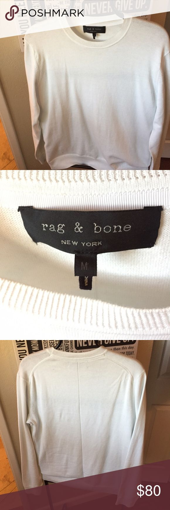 White Rag& Bone sweater Men's medium white sweater made by rag and bone. Worn one time and in perfect condition I just don't wear white sweaters often enough to keep it. rag & bone Sweaters Crewneck