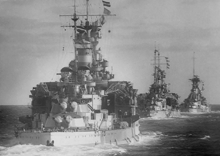 15 in battleships HMS Valiant (nearest), HMS Queen Elizabeth (class name ship) and HMS Barham - date unknown but probably late 1930s / 1940: it is hard to see here, but by then the former two had been fitted with a modernised 'box' bridge (Barham, sunk in November 1941, never was, and her old style fore top is plainly visible). These are 3 of the most famous battleship class to serve with the Royal Navy across both World Wars, the missing sisters being Warspite and Malaya.