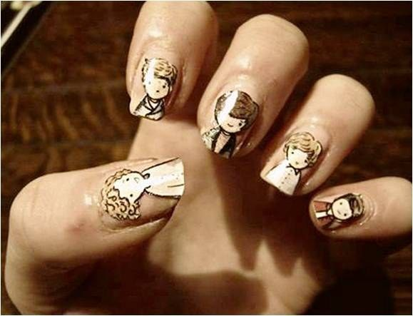 One Direction in the sepia tones of my heart. | Community Post: 21 Times Music Fans Won The Nail Art Game