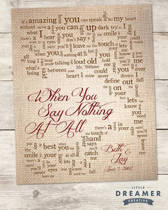 When You Say Nothing At All Song Lyric Print By Lildreamercreative