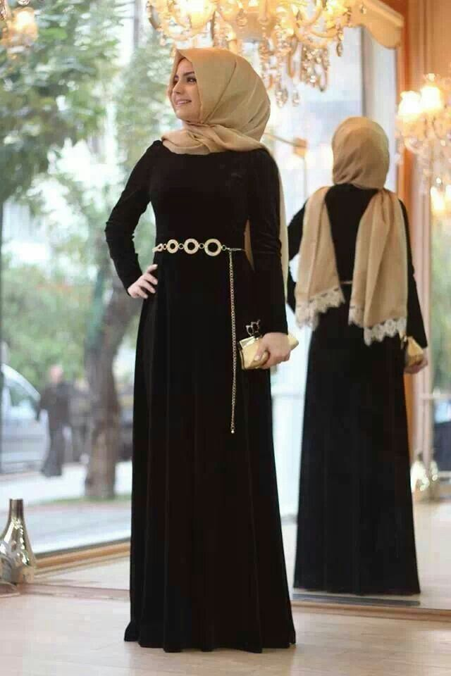Simple abaya with a simple golden belt!