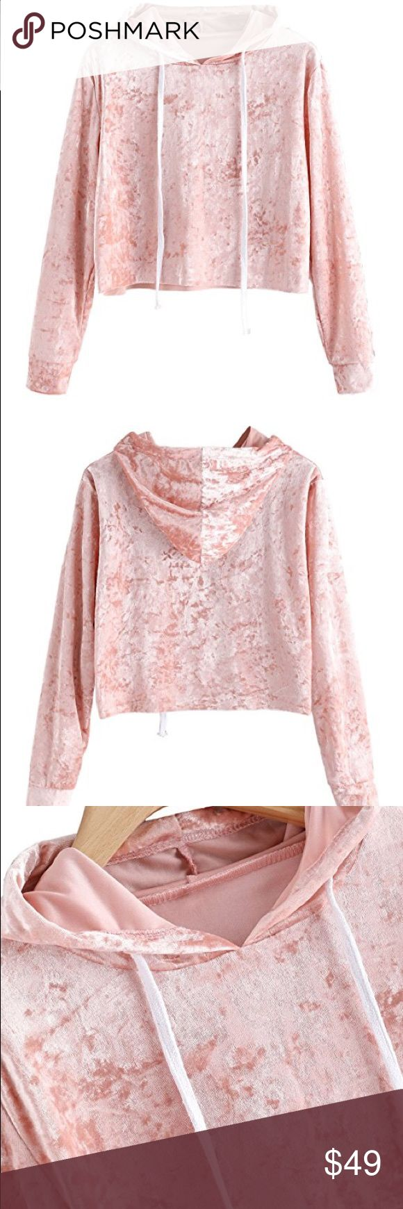 Pink velvet sweatshirt Brand new with tags, boutique pastel blush pink velvet cropped sweatshirt. Available size are: xsmall, small, medium, or large.   POSH RULES ONLY NO PP NO TRADES NO LOWBALL OFFERS  HAPPY POSHING! boutique Tops Sweatshirts & Hoodies