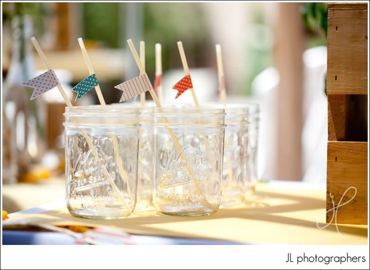 Use mason jars and add a fun stirrer or straw for your next party!: Themed Baby Showers, Ball Jars, Shower Ideas, Theme Baby Shower, Circus Baby, Parties Ideas, Flags Straws, Mason Jars, Jars Glasses