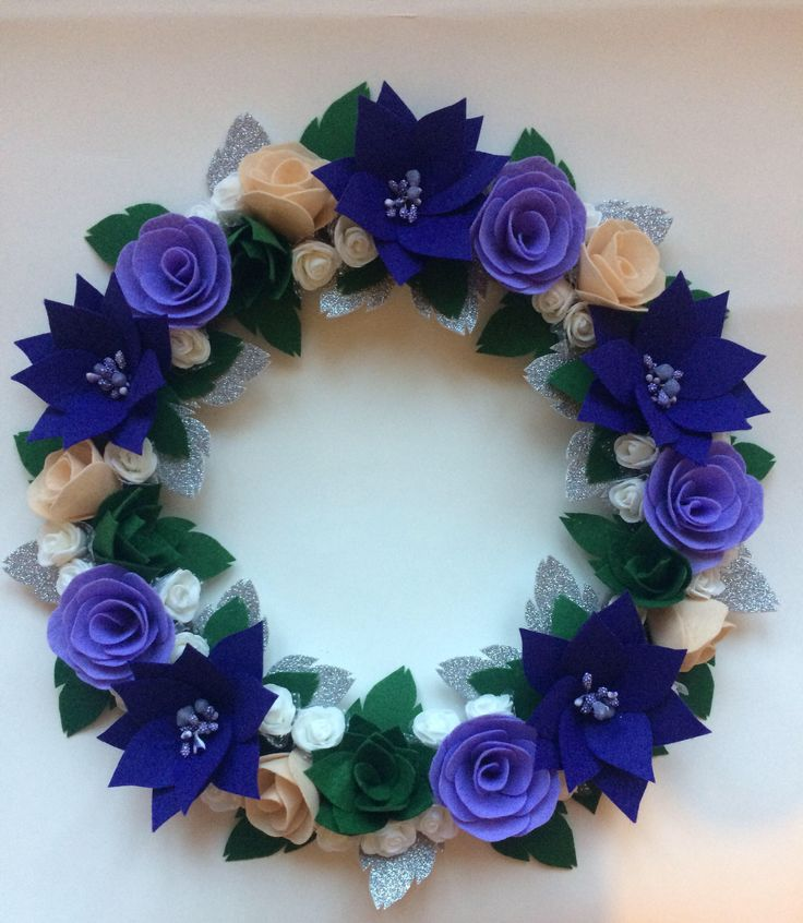 Christmas Wreath, Felt Wreath, Purple Wreath, Handmade Wreath by juliettesdesigntr on Etsy https://www.etsy.com/listing/562984402/christmas-wreath-felt-wreath-purple
