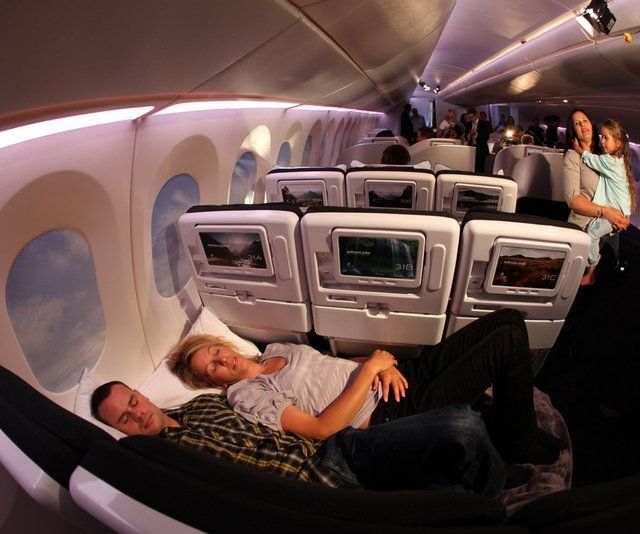 """Skycouch"" - economy class at Air New Zealand"