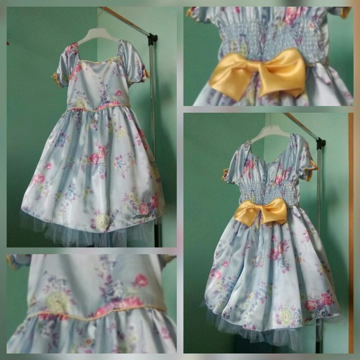 Floral print princess dress with yelliw piping and bows and tulle petticoat