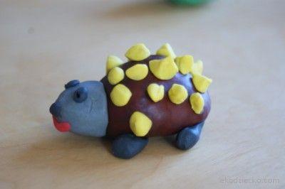jeż przestrzenna praca plastyczna kasztany Spatial hedgehog artwork, chestnuts