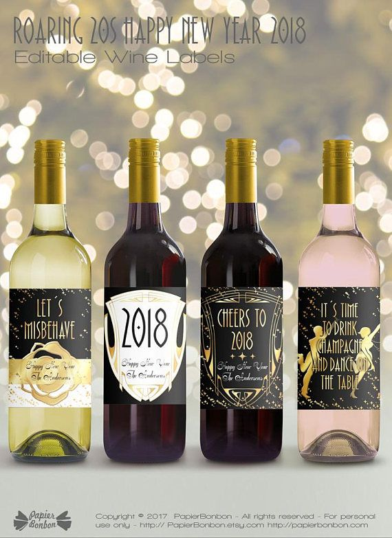 happy new year 2018 edit print create your own wine labels to create a funny personalized gift or to create a perfect addition to a 2018 new years party