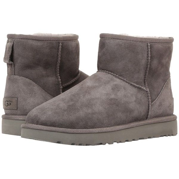 UGG Classic Mini II (Grey) Women's Boots ($140) ❤ liked on Polyvore featuring shoes, boots, ankle boots, gray boots, gray ankle boots, short boots, grey fur boots and grey boots