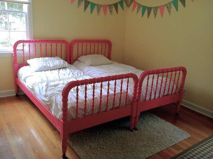 Raspberry Jenny Lind Twin Beds With Pale Yellow Walls