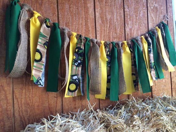 John Deere fabric garland banner John Deere party by QueensBanners