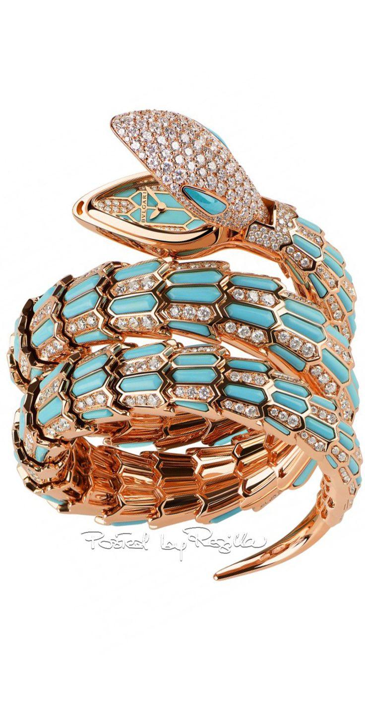 bulgari gold turquoise and diamond snake bracelet watch ring
