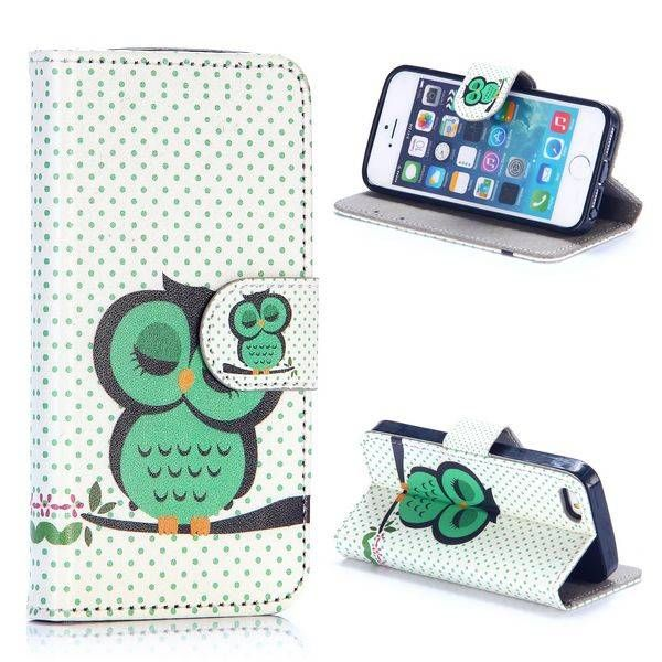 Groene slapende uil bookcover hoes voor iPhone 5 / 5S