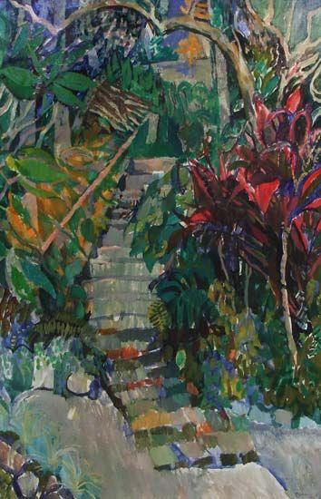 Featuring artwork by © Elizabeth Cummings - Garden Steps | Anthea Polson Art Gallery Gold Coast QLD