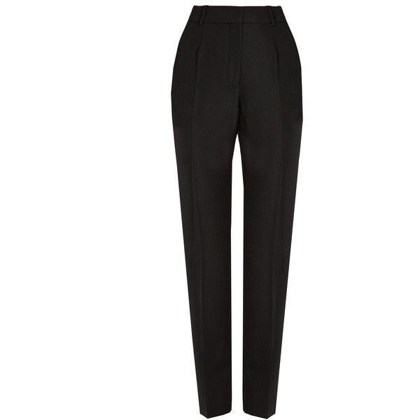 Balenciaga Cigarette-leg wool trousers (467.910 CLP) ❤ liked on Polyvore featuring pants, balenciaga, black, tapered pants, high-waisted trousers, high waisted trousers and cigarette pants
