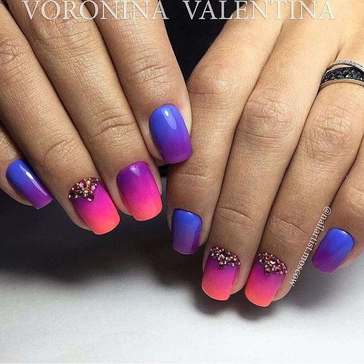 Bright gradient nails, Bright pink nails, Bright summer nails, Gradient nail art, Ideas of gradient nails, Nails ideas 2017, Nails shellac gradient, Summer gradient nails