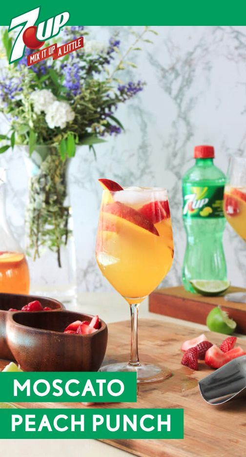 Making a signature cocktail—like this Moscato Peach Punch—is the perfect addition to your summer party menu. When planning your next get-together, make a Target run to pick up the ingredients you'll need for this batch cocktail. Made with 7UP®, Moscato white wine, peach nectar, fresh peaches, and limes, this refreshing drink is one you can bet on. Did we mention that this boozy and bubbly combination is even more delicious with a garnish of berries?!