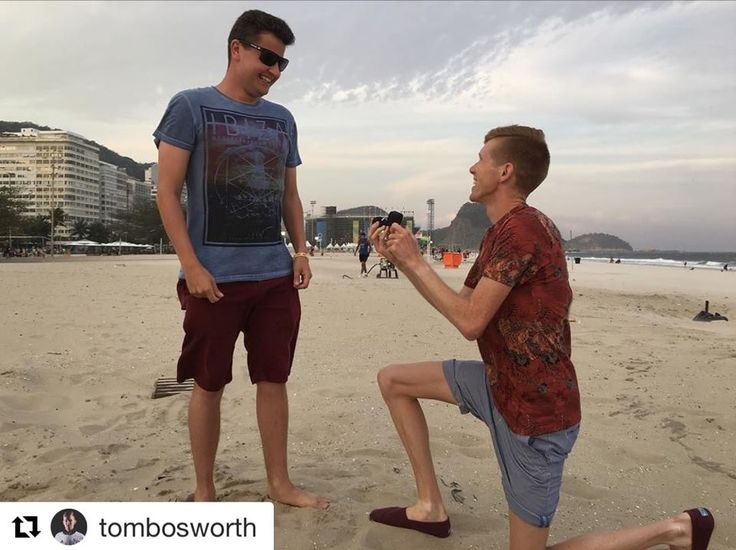Olympian Tom Bosworth proposed to Harry Dineley in Rio yesterday. Bosworth competed as a race walker for Great Britain .. Congratulations to the happy couple!