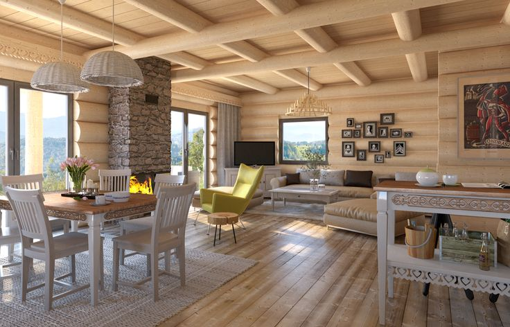 pokój dzienny, living room, dom z bala, drewna, duze przeszklenia, jasne wnętrze, drewniane podłogi, ściany z bala, kominek z kamienia, dekoracyjne akcenty góralskie więcej na www.babiebale.net