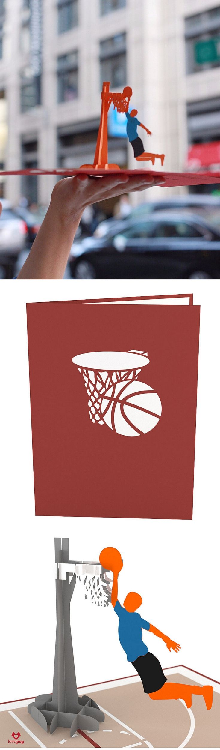 Slam Dunk! Gift this 3D pop up card to your favorite bball fan for their birthday or any occasion. #basketball #swoosh