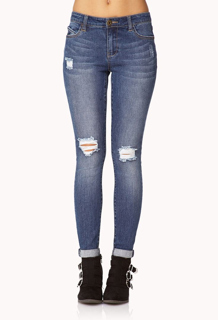 Everyday Distressed Skinny Jeans | FOREVER21 Denim dreamin'