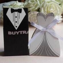 100Pcs Bridal Gift Cases Groom Tuxedo Dress Gown Ribbon Wedding Favors Candy Box Sugar Case Wedding Decoration mariage casamento(China (Mainland))