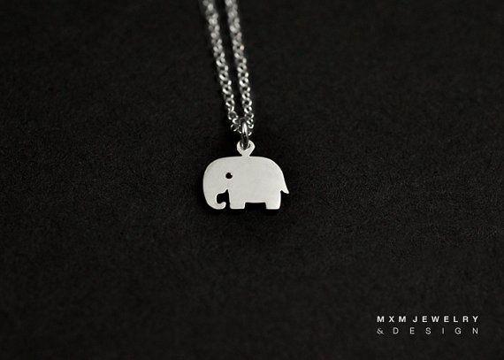 Argento o oro piccolo elefante collana di mxmjewelry su Etsy
