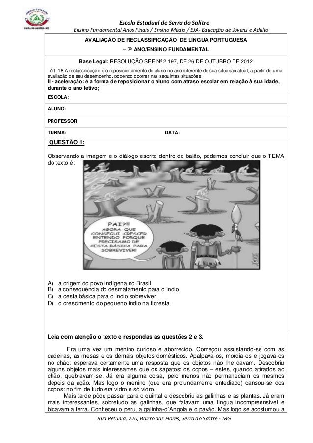 Escola Estadual de Serra do Salitre  Ensino Fundamental Anos Finais / Ensino Médio / EJA- Educação de Jovens e Adulto  AVA...