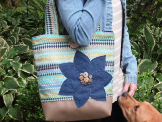 Womens Tote Bag Large Tote Bag Blue Tote by BerkshireCollections #etsyspecialt