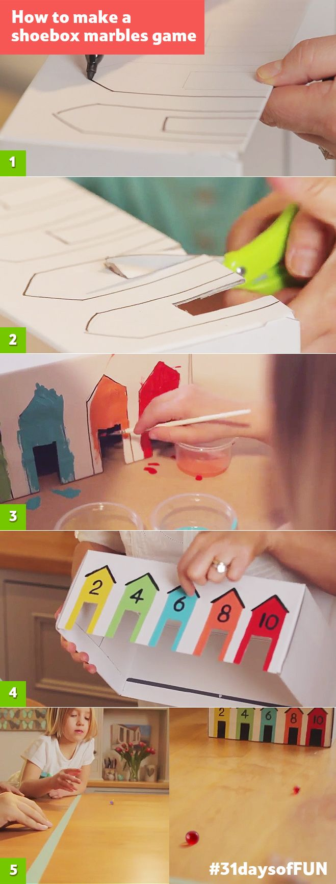 Day 30: Use an old shoebox and some poster paints to make a marbles game for kids. Have a family tournament! #31daysofFUN