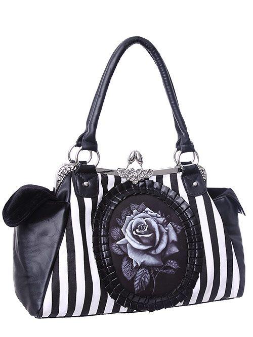 Sac neo victorien noire à rayures blanches avec rose et ornement