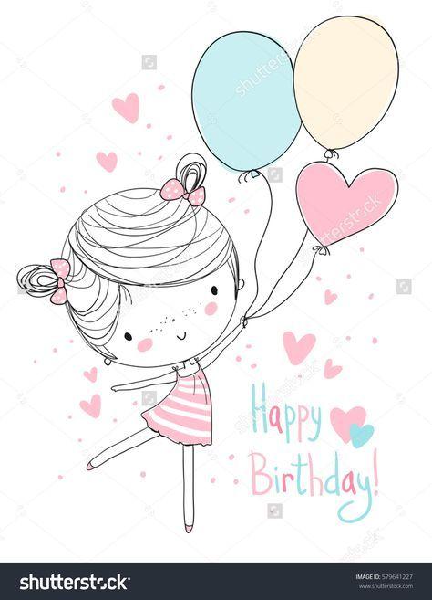 Girl holding balloons. Happy Birthday.