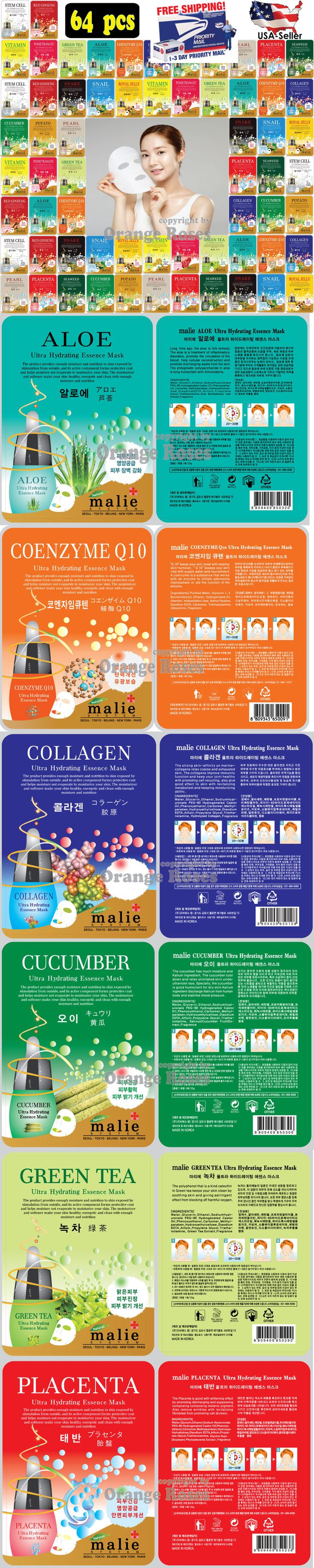 Masks and Peels: [Malie] 64 Pcs Ultra Hydrating Essence Mask Pack, Korean Facial Mask Sheet -> BUY IT NOW ONLY: $31.5 on eBay!