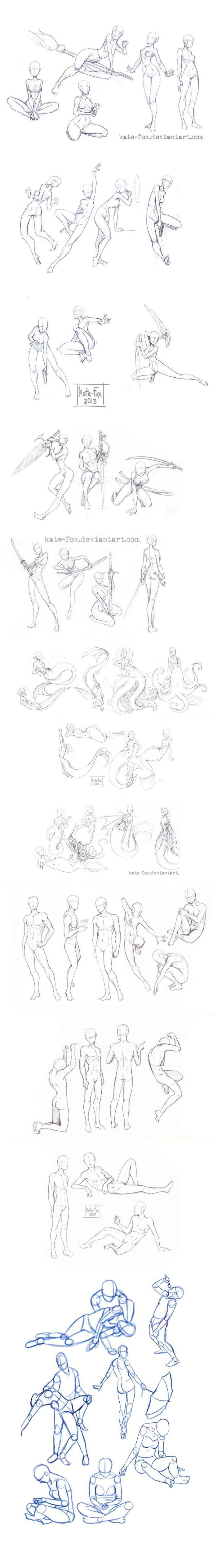 【人体素材】很特别的一组人体素材,包含了一系列女性化的海底生物。譬如人鱼、水母和海带。除此之外,还有一系列的拔刀打斗的姿态素材~一定会帮助你在刻画角色的时候带去更多的体悟。