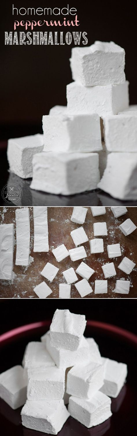 Homemade Peppermint Marshmallows are easy and fun to make, are an outstanding addition to hot chocolate, and you can gift them as a holiday treat. #peppermint #marshmallow #christmas