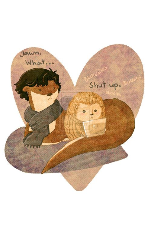 otter+sherlock | Dearly Beloved, are you listening?, Otter and Hedgie by ~Papercutzz