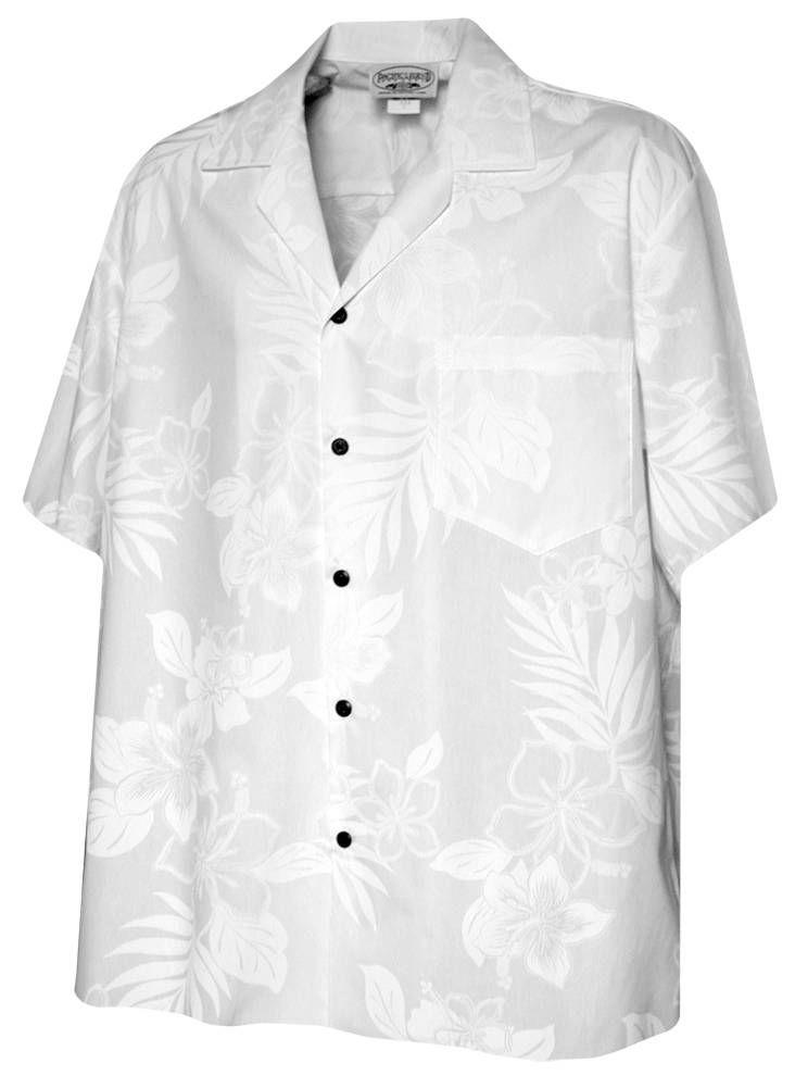 Hibiscus Shadows - Mens Hawaiian Aloha Shirt - White, Tropical Wedding Prints, 410-3585_White - Paradise Clothing Company