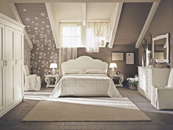 Superbe chambre couleur taupe et blanc avec mobilier vintage chic