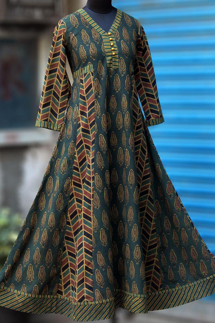 Maati Crafts Multicolored Cotton Printed Anarkali kurti