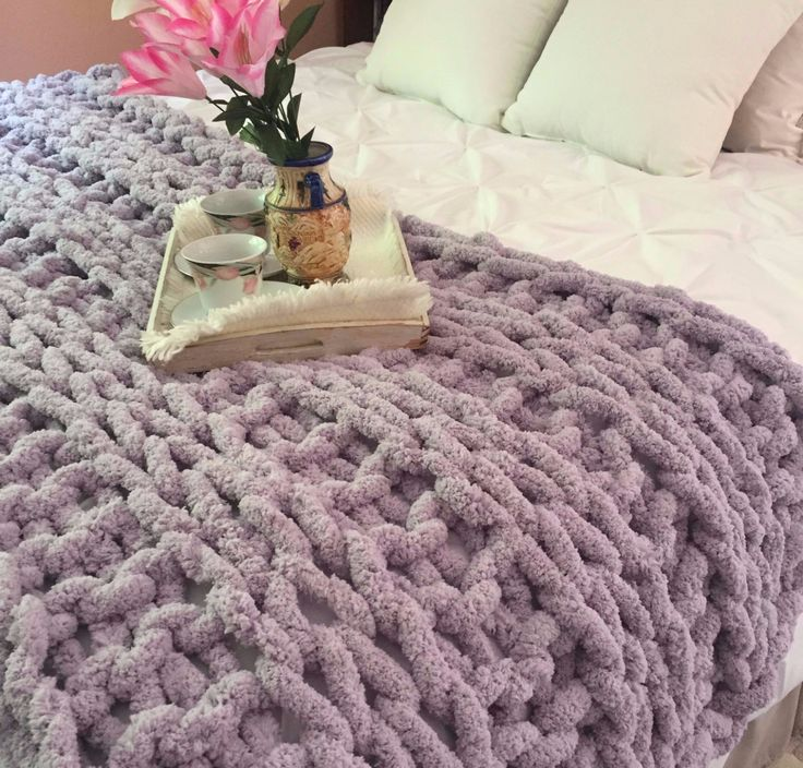 Super chunky Chenille blanket, Double Ribbing pattern