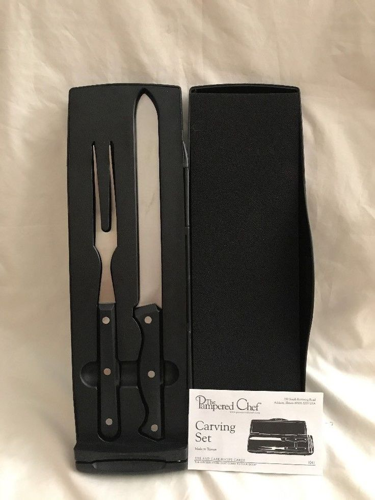 Pampered Chef Carving Set #1041 Knife Fork Box Sharpener Instructions    | eBay