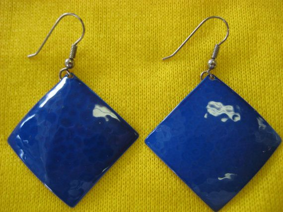 FUNKY blue diamond 80s earrings by myrtledovelove on Etsy, sold