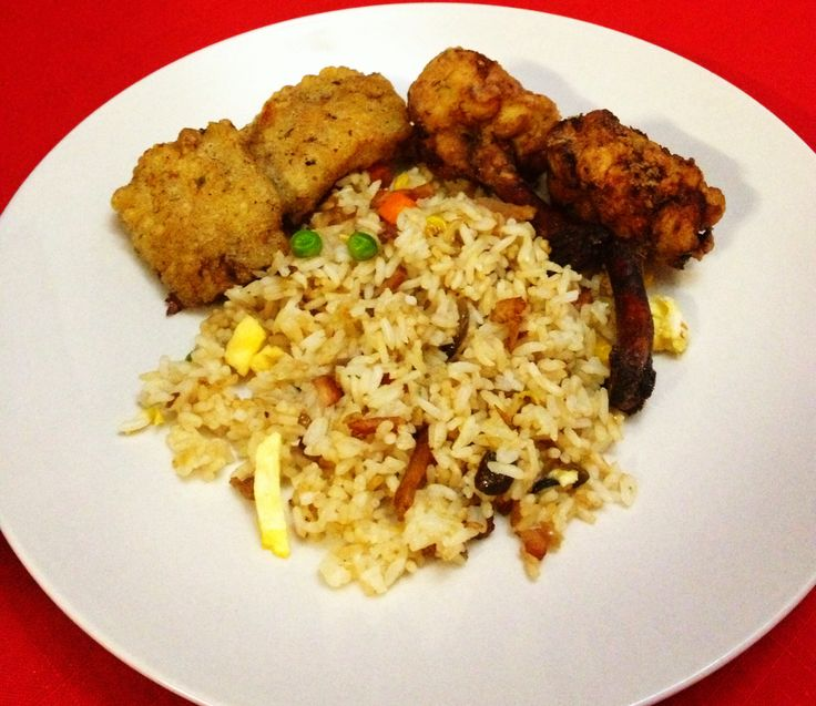 Fried rice with stuffed chicken wings and chicken wings sticks
