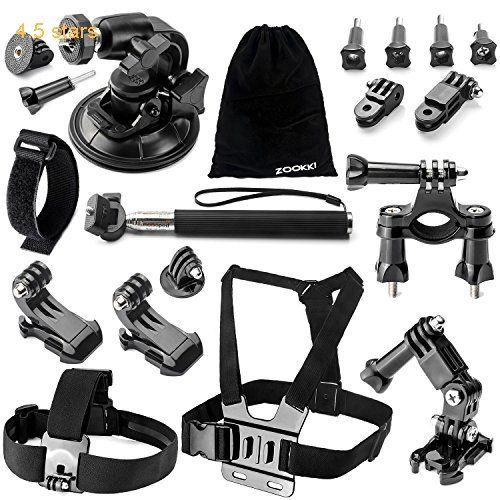 Zookki Accessory Kit for GoPro Hero 5 4 3 3 2 1 Black Silver Accessory Bundles for SJ4000 SJ5000 SJ6000 Xiaomi Yi/Lightdow/WiMiUS/DBPOWER Action Camera