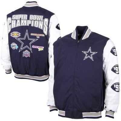 Mens Dallas Cowboys Navy Blue Commemorative Canvas Jacket