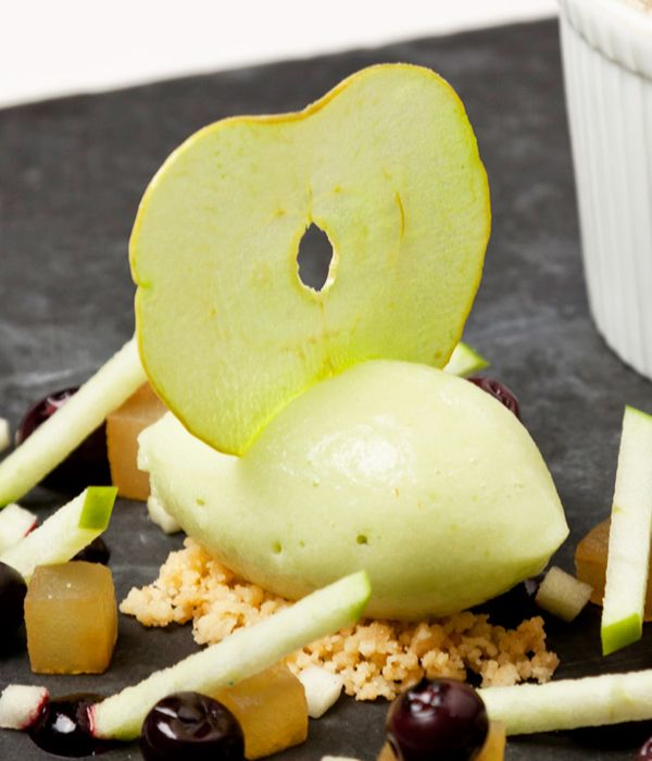 Prime Granny Smith apples are frozen, blitzed and churned in this gorgeous apple sorbet recipe. To serve with the garnishes pictured, check out Simon Haigh's original recipe - he serves this sorbet with a heavenly gingerbread soufflé.