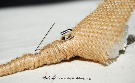 burlap boutonniere - wondering how  i would get them attached if I diy'ed my boutonnieres