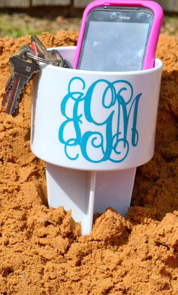 Hey, I found this really awesome Etsy listing at https://www.etsy.com/listing/150662075/monogram-beach-spike-beverage-holder